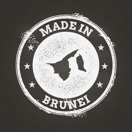 White chalk texture made in stamp with Nation of Brunei map on a school blackboard. Grunge rubber seal with country map outline, vector illustration. Stock Illustratie