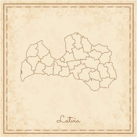 Latvia region map: stilyzed old pirate parchment imitation. Detailed map of Latvia regions. Vector illustration.