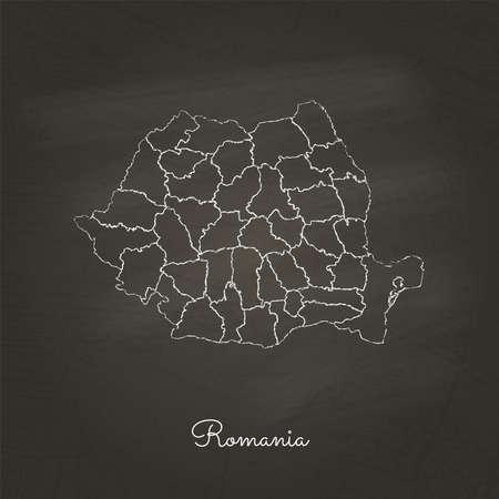 Romania region map: hand drawn with white chalk on school blackboard texture. Detailed map of Romania regions. Vector illustration.