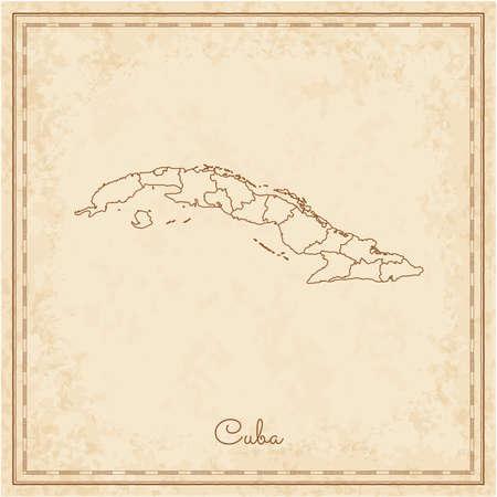 Cuba region map: stilyzed old pirate parchment imitation. Detailed map of Cuba regions. Vector illustration.