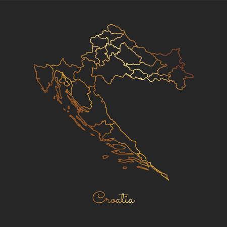 Croatia region map: golden gradient outline on dark background. Detailed map of Croatia regions. Vector illustration.
