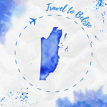 Watercolor map in blue colors. Travel to Belize poster with airplane trace and handpainted watercolor map on crumpled paper. Vector illustration.