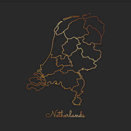 Netherlands region map: golden gradient outline on dark background. Detailed map of Netherlands regions. Vector illustration.