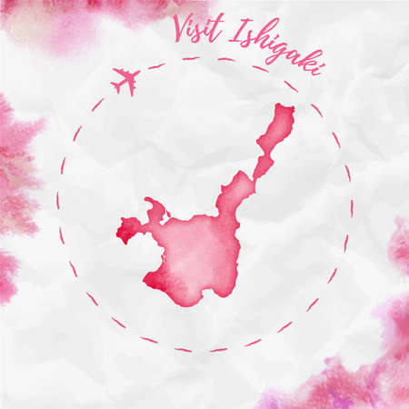 Ishigaki watercolor island map in red colors. Visit Ishigaki poster with airplane trace and handpainted watercolor Ishigaki map on crumpled paper. Vector illustration.