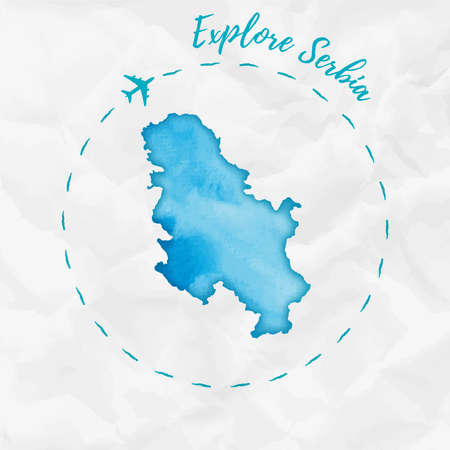 Watercolor map in turquoise colors. Explore Serbia poster with airplane trace and handpainted watercolor map on crumpled paper. Vector illustration.