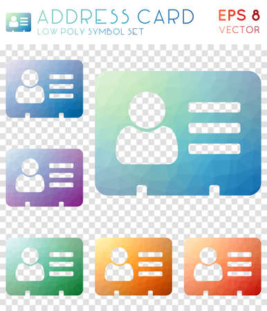 Address card geometric polygonal icons. Adorable mosaic style symbol collection. Surprising low poly style. Modern design. Address card icons set for infographics or presentation.