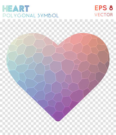 Heart polygonal symbol. Appealing mosaic style symbol. Favorable low poly style. Modern design. Heart icon for infographics or presentation. Illustration