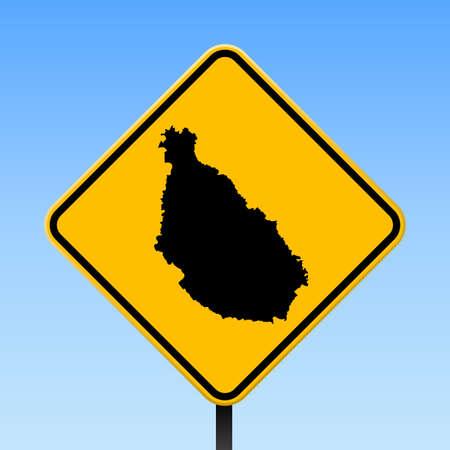Santiago Island map on road sign. Square poster with Santiago Island island map on yellow rhomb road sign. Vector illustration.