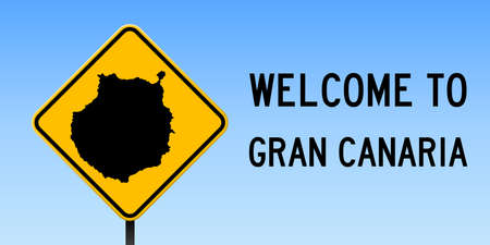 Gran Canaria map on road sign. Wide poster with Gran Canaria island map on yellow rhomb road sign. Vector illustration.