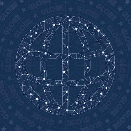 Globe network symbol. Alluring constellation style symbol. Artistic network style. Modern design. Globe symbol for infographics or presentation.
