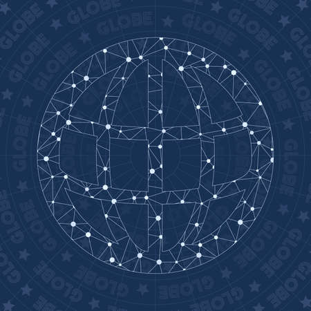 Globe network symbol. Alluring constellation style symbol. Artistic network style. Modern design. Globe symbol for infographics or presentation.