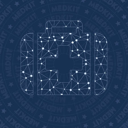 Medkit network symbol. Amazing constellation style symbol. Divine network style. Modern design. Medkit symbol for infographics or presentation.