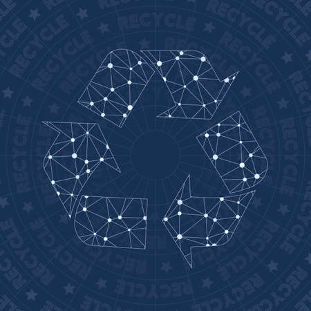 Recycle network symbol. Amazing constellation style symbol. Unusual network style. Modern design. Recycle symbol for infographics or presentation.