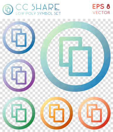 Cc share geometric polygonal icons. Amazing mosaic style symbol collection. Bold low poly style. Modern design. Cc share icons set for infographics or presentation.
