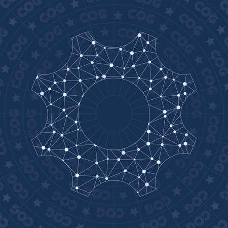 Cog network symbol. Adorable constellation style symbol. Favorable network style. Modern design. Cog symbol for infographics or presentation.