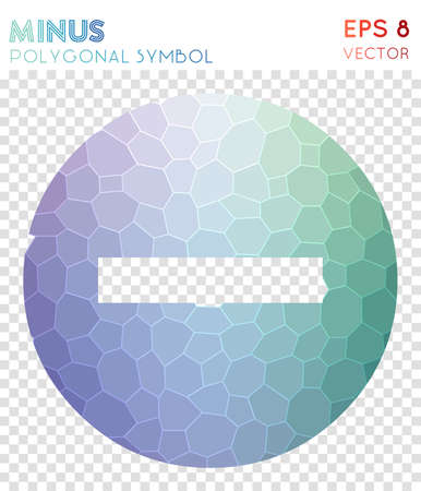 Minus circled polygonal symbol. Astonishing mosaic style symbol. Worthy low poly style. Modern design. Minus circled icon for infographics or presentation.