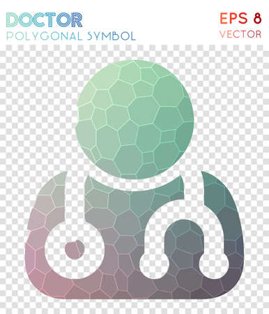 User md polygonal symbol. Bizarre mosaic style symbol. Alluring low poly style. Modern design. User md icon for infographics or presentation.