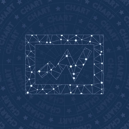 Chart network symbol. Admirable constellation style symbol. Remarkable network style. Modern design. Chart symbol for infographics or presentation.