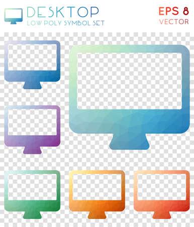 Desktop geometric polygonal icons. Amusing mosaic style symbol collection. Positive low poly style. Modern design. Desktop icons set for infographics or presentation. Illustration