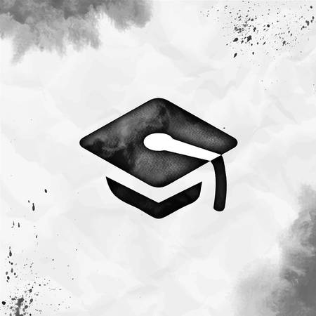 Graduation cap watercolor icon. Appealing hand drawn style symbol. Classic watercolor symbol. Modern design for infographics or presentation.