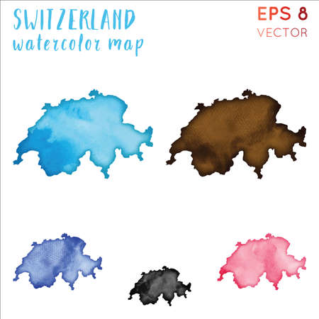 Schweiz Aquarell Landkarte. Handgemalte Aquarell Schweiz Kartenset. Vektorillustration.