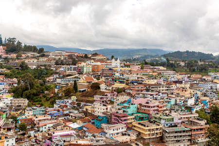 Aerial view of Coonoor town in India. Indian city landscape