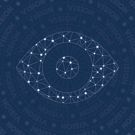 Eye network symbol. Alive constellation style symbol. Exotic network style. Modern design. Eye symbol for infographics or presentation.