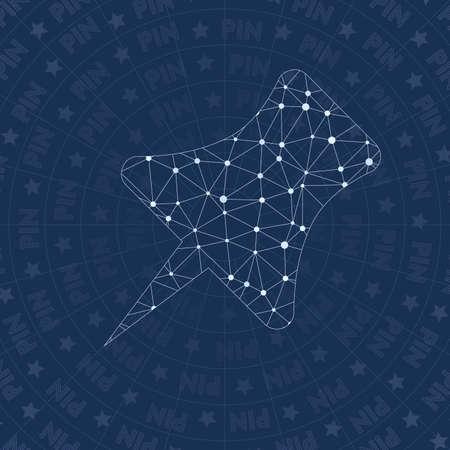 Simbolo di rete pin. Incredibile simbolo di stile della costellazione. Stile di rete ottimale. Design moderno. Simbolo pin per infografica o presentazione.
