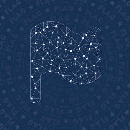 Bandiera simbolo di rete. Simbolo di stile di costellazione viva. Stile di rete ottimale. Design moderno. Simbolo della bandiera per infografica o presentazione.