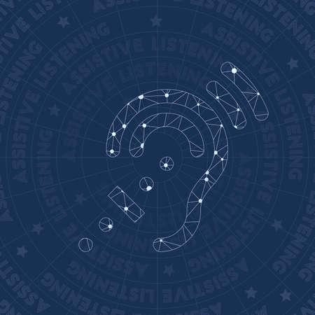 Simbolo di rete assistiva. Simbolo di stile reale costellazione. Favoloso stile di rete. Design moderno. Simbolo assistivo per infografica o presentazione. Vettoriali