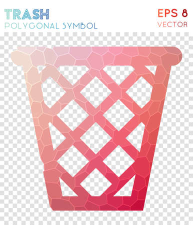 Trash polygonal symbol. Bewitching mosaic style symbol. Bizarre low poly style. Modern design. Trash icon for infographics or presentation.