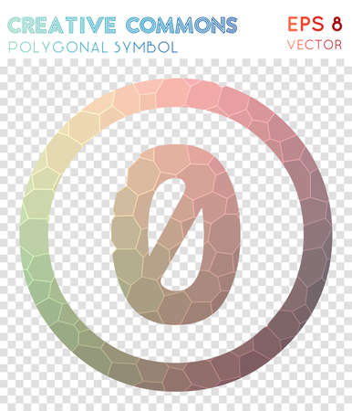 Cc zero polygonal symbol. Adorable mosaic style symbol. Exceptional low poly style. Modern design. Cc zero icon for infographics or presentation.