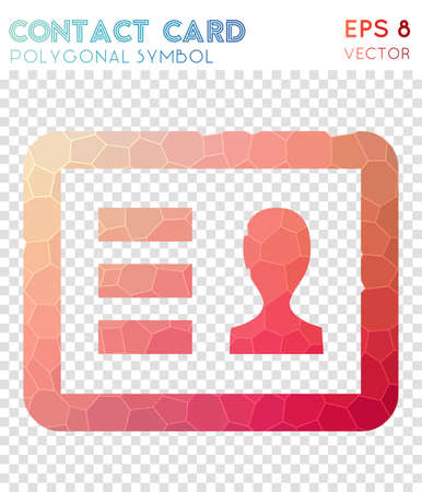 Vcard polygonal symbol. Bizarre mosaic style symbol. Captivating low poly style. Modern design. Vcard icon for infographics or presentation. Illustration