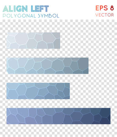 Align left polygonal symbol. Actual mosaic style symbol. Classic low poly style. Modern design. Align left icon for infographics or presentation. Illustration