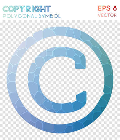 Copyright polygonal symbol. Alive mosaic style symbol. Majestic low poly style. Modern design. Copyright icon for infographics or presentation.
