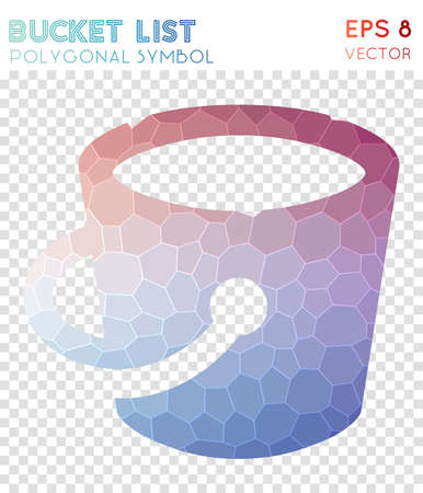 Bucket polygonal symbol. Admirable mosaic style symbol. Optimal low poly style. Modern design. Bucket icon for infographics or presentation.