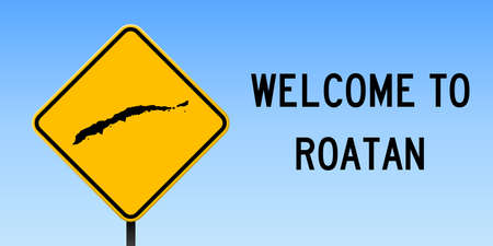 Roatan map on road sign. Wide poster with Roatan island map on yellow rhomb road sign. Vector illustration. Illustration