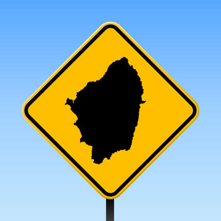 Naxos map on road sign. Square poster with Naxos island map on yellow rhomb road sign. Vector illustration.