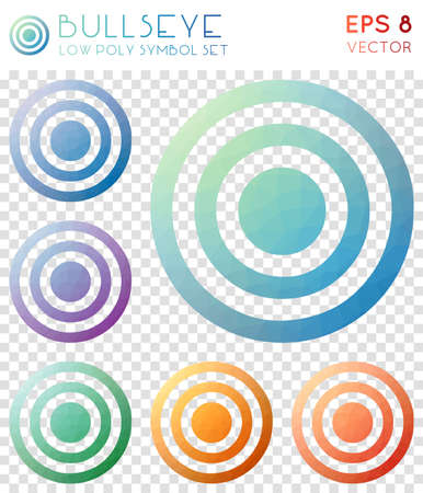 Bullseye geometric polygonal icons. Alluring mosaic style symbol collection. Indelible low poly style. Modern design. Bullseye icons set for infographics or presentation.