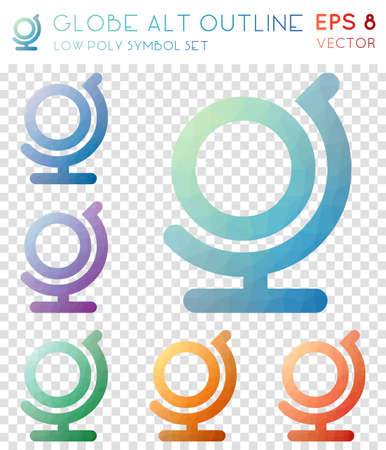 Globe alt outline geometric polygonal icons. Astonishing mosaic style symbol collection. Perfect low poly style. Modern design. Globe alt outline icons set for infographics or presentation.