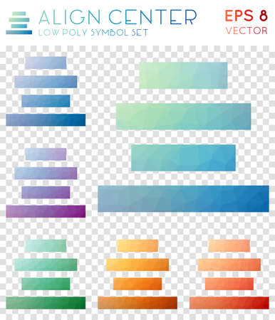 Align center geometric polygonal icons. Adorable mosaic style symbol collection. Valuable low poly style. Modern design. Align center icons set for infographics or presentation.