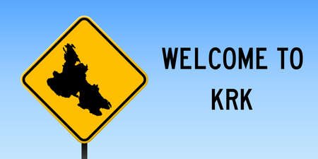 Krk map on road sign. Wide poster with Krk island map on yellow rhomb road sign. Vector illustration.