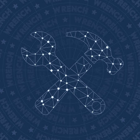 Wrench network symbol. Appealing constellation style symbol. Positive network style. Modern design. Wrench symbol for infographics or presentation.
