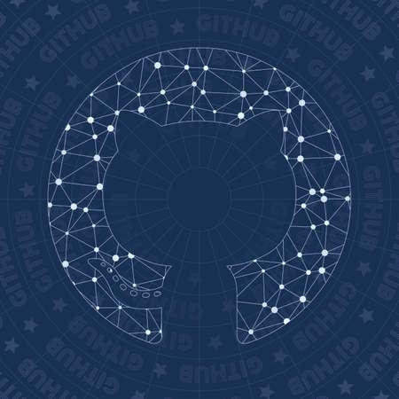 Github circled network symbol. Alive constellation style symbol. Wondrous network style. Modern design. Github circled symbol for infographics or presentation. Illustration