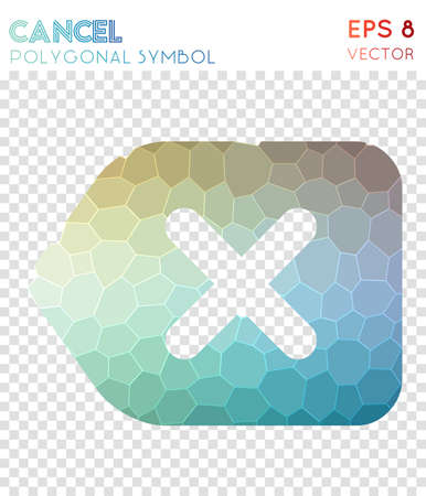 Cancel polygonal symbol. Adorable mosaic style symbol. Amazing low poly style. Modern design. Cancel icon for infographics or presentation.