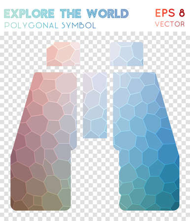 Explore polygonal symbol. Admirable mosaic style symbol. Dazzling low poly style. Modern design. Explore icon for infographics or presentation.  イラスト・ベクター素材