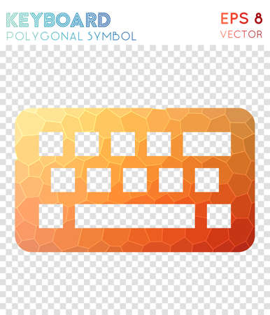 Keyboard polygonal symbol. Artistic mosaic style symbol. Breathtaking low poly style. Modern design. Keyboard icon for infographics or presentation.