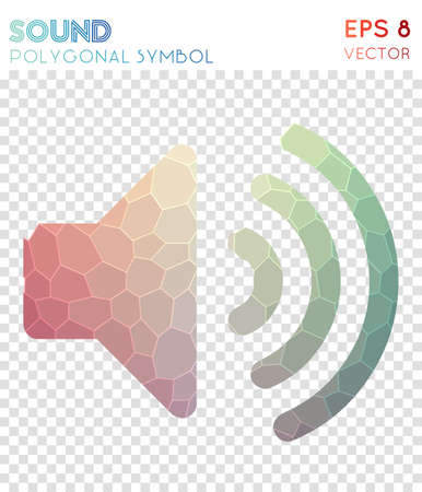 Volume up polygonal symbol. Bizarre mosaic style symbol. Mind-blowing low poly style. Modern design. Volume up icon for infographics or presentation. Ilustração