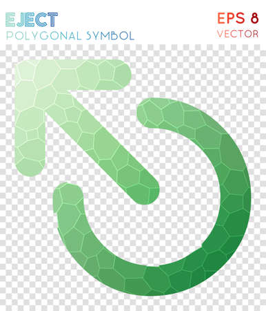 Eject polygonal symbol. Alluring mosaic style symbol. Surprising low poly style. Modern design. Eject icon for infographics or presentation.