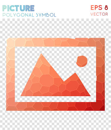 Picture polygonal symbol. Authentic mosaic style symbol. Brilliant low poly style. Modern design. Picture icon for infographics or presentation. Illustration